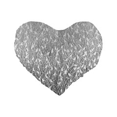 Grey Ombre feather pattern, white, Standard 16  Premium Heart Shape Cushion