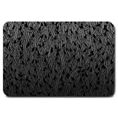 Grey Ombre feather pattern, black, Large Doormat