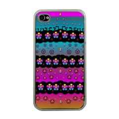 Rainbow  Big Flowers In Peace For Love And Freedom Apple iPhone 4 Case (Clear)