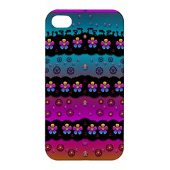 Rainbow  Big Flowers In Peace For Love And Freedom Apple iPhone 4/4S Premium Hardshell Case