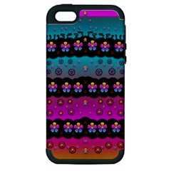 Rainbow  Big Flowers In Peace For Love And Freedom Apple Iphone 5 Hardshell Case (pc+silicone)