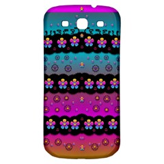 Rainbow  Big Flowers In Peace For Love And Freedom Samsung Galaxy S3 S Iii Classic Hardshell Back Case