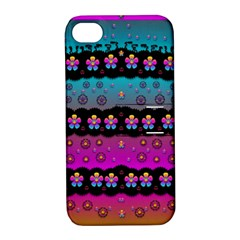 Rainbow  Big Flowers In Peace For Love And Freedom Apple Iphone 4/4s Hardshell Case With Stand