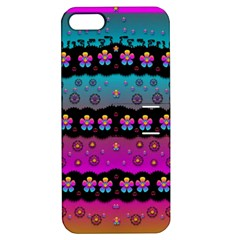 Rainbow  Big Flowers In Peace For Love And Freedom Apple Iphone 5 Hardshell Case With Stand