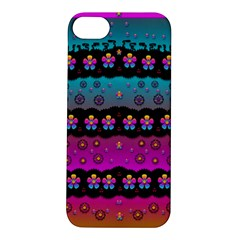 Rainbow  Big Flowers In Peace For Love And Freedom Apple iPhone 5S/ SE Hardshell Case