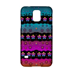 Rainbow  Big Flowers In Peace For Love And Freedom Samsung Galaxy S5 Hardshell Case