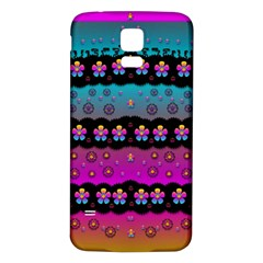Rainbow  Big Flowers In Peace For Love And Freedom Samsung Galaxy S5 Back Case (White)