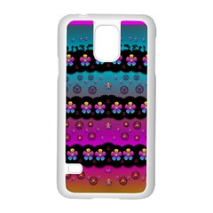 Rainbow  Big Flowers In Peace For Love And Freedom Samsung Galaxy S5 Case (white)