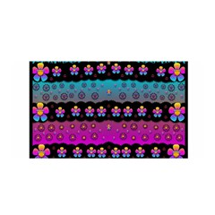 Rainbow  Big Flowers In Peace For Love And Freedom Satin Wrap