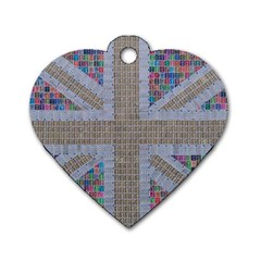 Multicoloured Union Jack Dog Tag Heart (Two Sides)