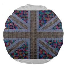 Multicoloured Union Jack Large 18  Premium Round Cushions