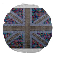 Multicoloured Union Jack Large 18  Premium Flano Round Cushions
