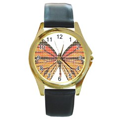 Butterfly Round Gold Metal Watch