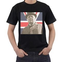 Churchill 1 Men s T-Shirt (Black) (Two Sided)