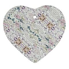 Oriental Floral Ornate Heart Ornament (2 Sides)
