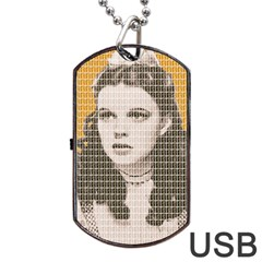 Over The Rainbow   Yellow Dog Tag Usb Flash (one Side)