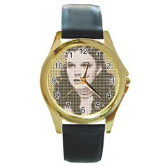 Over The Rainbow - Gold Round Gold Metal Watch