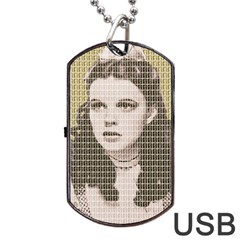 Over The Rainbow   Gold Dog Tag Usb Flash (two Sides)
