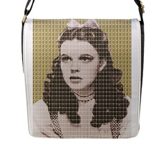 Over The Rainbow   Gold Flap Messenger Bag (l)