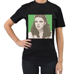 Over the rainbow - Green Women s T-Shirt (Black) (Two Sided)