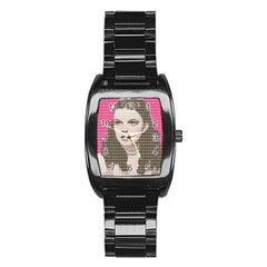 Over the Rainbow - Pink Stainless Steel Barrel Watch