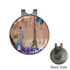 Modern Butterfly  Floral Paris Eiffel Tower Decor Hat Clip with Golf Ball Marker