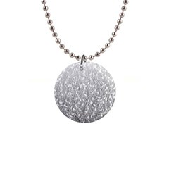 Grey Ombre feather pattern, white, 1  Button Necklace