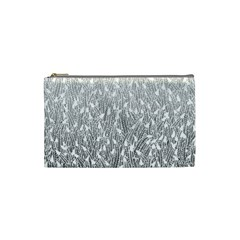 Grey Ombre feather pattern, white, Cosmetic Bag (Small)