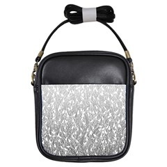 Grey Ombre feather pattern, white, Girls Sling Bag