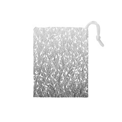 Grey Ombre feather pattern, white, Drawstring Pouch (Small)