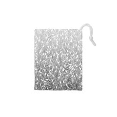 Grey Ombre Feather Pattern, White, Drawstring Pouch (xs)