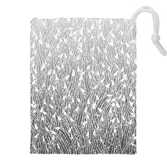 Grey Ombre Feather Pattern, White, Drawstring Pouch (xxl)