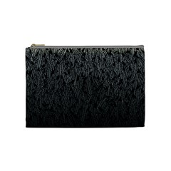 Grey Ombre feather pattern, black, Cosmetic Bag (Medium)