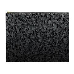 Grey Ombre feather pattern, black, Cosmetic Bag (XL)