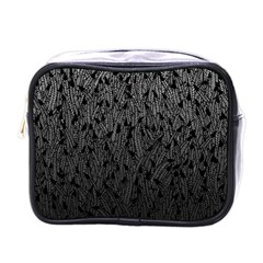 Grey Ombre feather pattern, black, Mini Toiletries Bag (One Side)