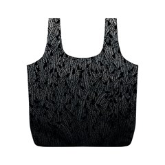 Grey Ombre feather pattern, black, Full Print Recycle Bag (M)
