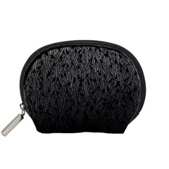 Grey Ombre feather pattern, black, Accessory Pouch (Small)