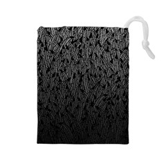 Grey Ombre feather pattern, black, Drawstring Pouch (Large)