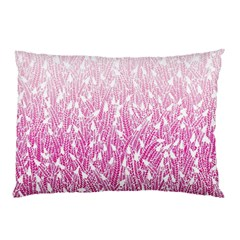 Pink Ombre feather pattern, white, Pillow Case (Two Sides)