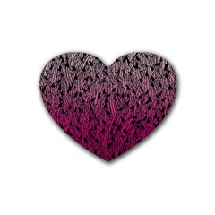 Pink Ombre feather pattern, black, Heart Coaster (4 pack)