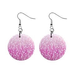 Pink Ombre feather pattern, white, 1  Button Earrings
