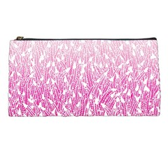 Pink Ombre feather pattern, white, Pencil Case