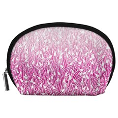 Pink Ombre feather pattern, white, Accessory Pouch (Large)