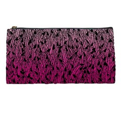 Pink Ombre feather pattern, black, Pencil Case