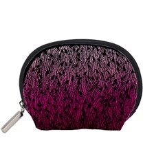 Pink Ombre feather pattern, black, Accessory Pouch (Small)