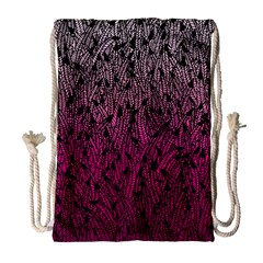 Pink Ombre feather pattern, black, Drawstring Bag (Large)