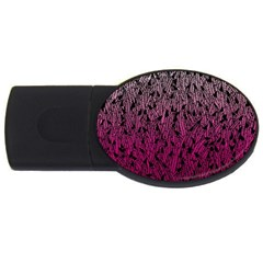Pink Ombre feather pattern, black, USB Flash Drive Oval (2 GB)