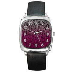 Pink Ombre feather pattern, black, Square Metal Watch