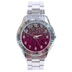 Pink Ombre feather pattern, black, Stainless Steel Analogue Watch