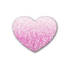 Pink Ombre feather pattern, white, Rubber Coaster (Heart)